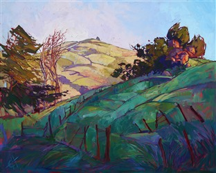 Paso Robles broken fences landscape oil painting, by Erin Hanson