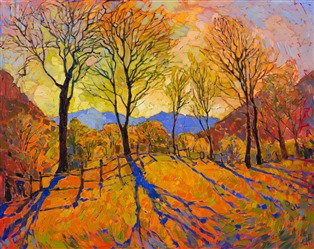 Crystal Light series oil painting dramatic landscape with tree shadows, by Erin Hanson.