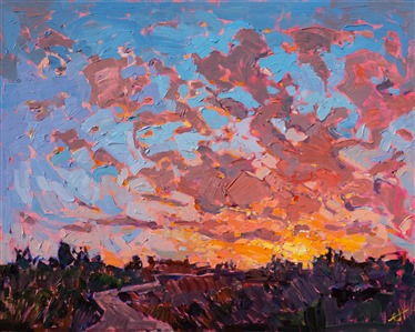 Contemporary impressionism oil painting for sale by the artist Erin Hanson.