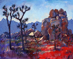 Blue Joshua Rock, expressionist oil painting by Erin Hanson