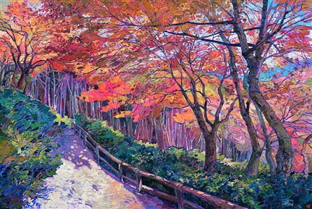 Sogenchi Garden in Arashiyama Park, Kyoto Japan - original oil painting in a contemporary impressionist style, by Erin Hanson