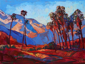 Vivid expressive color of Palm Springs, painted in oils by Erin Hanson