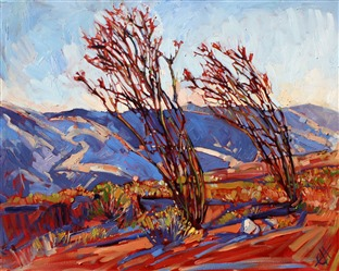 Ocotillo mountains landscape painting by Erin Hanson