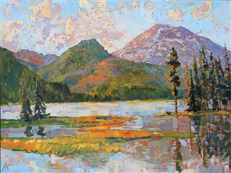 Oregon Cascades painted in oil over 24 karat gold leaf, by modern impressionist painter Erin Hanson
