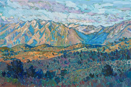 Sierra National Forest near Mammoth: original oil painting by Erin Hanson, painted in rich colors and impasto brush strokes.