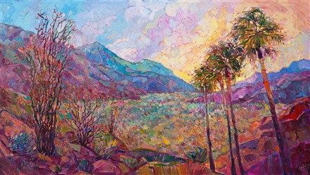 California desert original oil painting of Borrego Springs superbloom, by Erin Hanson
