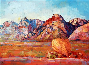 Red Rock Canyon oil painting of Rainbow Mountains, by Erin Hanson