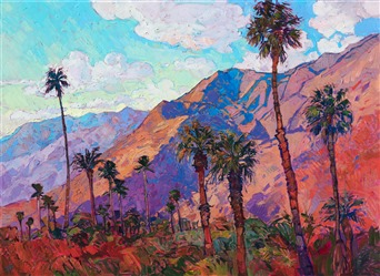 Oil painting of Santa Rosa landscape with colorful mountains and palm trees by contemporary artist Erin Hanson