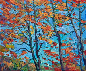 Oil painting inspired by fall colors in Vermont by Impressionist artist Erin Hanson