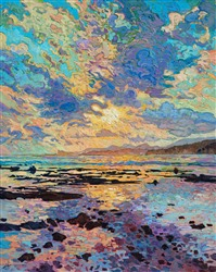 Reflected sunset in water, original oil painting by Erin Hanson.