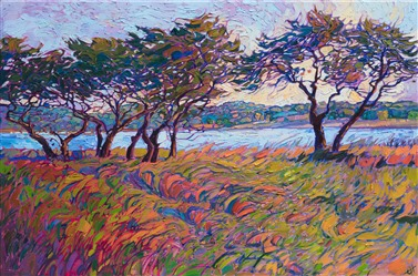 Colorful Texas hill country landscape oil painting with rolling grass and trees by impressionist Erin Hanson
