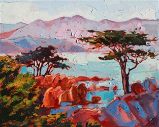 Pebble Beach oil painting landscape by contemporary impressionist Erin Hanson