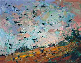 Flight of crows landscape oil painting by contemporary impressionist Erin Hanson.