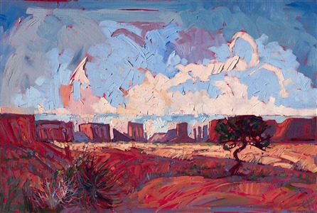 Oil painting of Arizona Monument Valley with red sandstone buttes standing on the horizon against the blue sky by artist Erin Hanson
