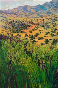 Apline Texas landcape oil painting by modern impressionist Erin Hanson, showing at The Museum of the Big Bend.