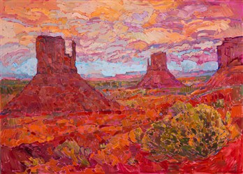 Monument Valley contemporary landscape oil painting by modern impressionist Erin Hanson.
