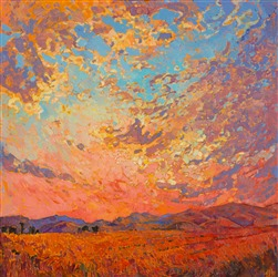Sunrise colors and impasto paint come alive on the canvas.