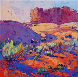 Utah landscape painted in beautiful saturated color, by impressionist master Erin Hanson