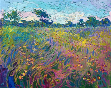 Texas wildflowers orignal oil painting by modern impressionist Erin Hanson