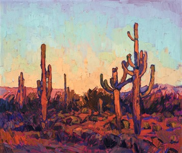 Arizona saguaro cactus oil painting in a modern, abstract style.