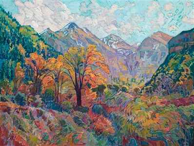 Autumn Zion mountain painting at Ayres Hotel in Seal Beach, by Erin Hanson