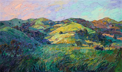 Paso Robles in springtime rolling hills landscape oil painting in a contemporary style.