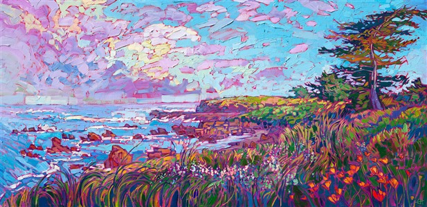 Monterey coastal contemporary impressionism oil painting for sale in Carmel California, by Erin Hanson