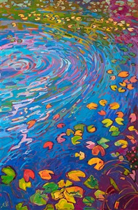 Lily pond abstract oil painting in Open Impressionism style.