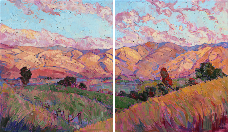 Large oil paintings diptych for sale modern landscapes by Erin Hanson