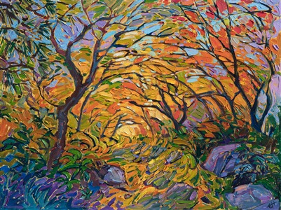 Autumn colored petite painting by modern impressionist master Erin Hanson.