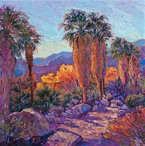 Thousand Palms Oasis oil painting of California desert landsape for sale, by Erin Hanson