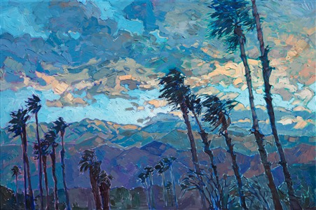 Coachella Valley desert landscape oil painting by contemporary impressionist Erin Hanson.