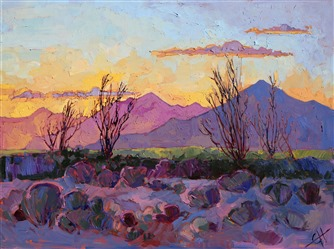 Complementary colors burst with life in this painting of the Coachella Valley, by Erin Hanson