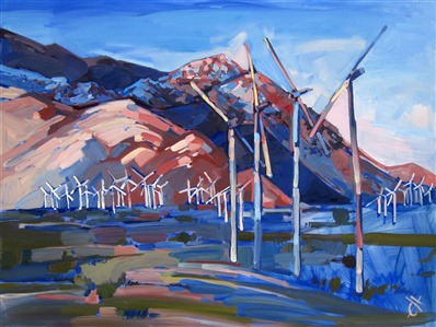 Palm Springs Windmills, original oil painting by Erin Hanson