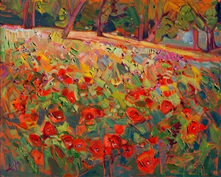 Poppies abstract landscape oil painting by modern impressionist Erin Hanson