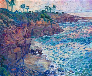 Abstract impressionist landscape oil painting of La Jolla Cove, by San Diego artist Erin Hanson.