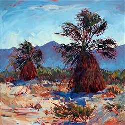 Young palm trees in Borrego Springs, painting by Erin Hanson