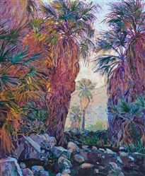 Indian Canyon palm oasis landscape oil painting of Palm Springs desert.