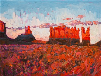 Cadmium sunset colors at Monument Valley, by modern impressionist artist Erin Hanson.