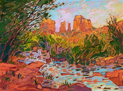 Cathedral Rock Sedona original oil painting for sale by modern impressionist Erin Hanson