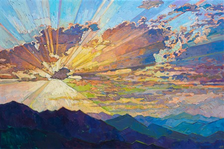 Dramatic sunset colored rays of light impressionist painting by Erin Hanson.