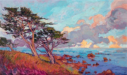 Monterey Pines original oil painting by Erin Hanson in a modern impressionist style