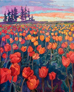 Oregon tulip field original oil painting by Erin Hanson