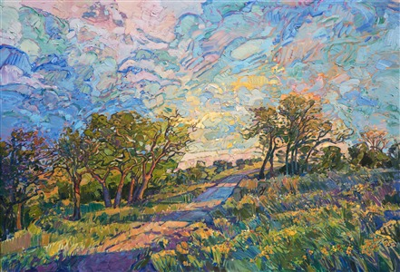 Texas hill country landscape oil painting by American impressionist Erin Hanson