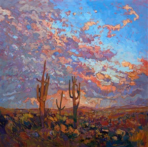 Saguaro Arizona landscape painting in dramatic lighting, by modern impressionist Erin Hanson.