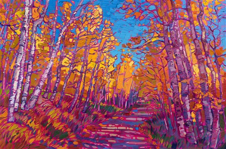 Aspen trees original oil painting of autumn golds against a blue sky, by impressionist Erin Hanson