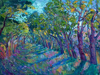 Summer Path abstract expressionist landscape oil painting by Erin Hanson