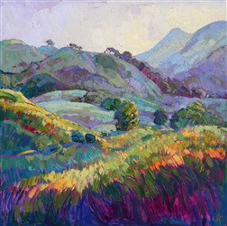 Paso Robles wine country painted in beautiful color by modern artist Erin Hanson