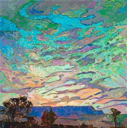 Desert buttes sunset oil painting by modern impressionist Erin Hanson.