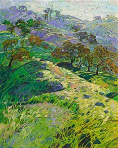 Paso Robles emerald hills oil painting by wine country painter Erin Hanson.